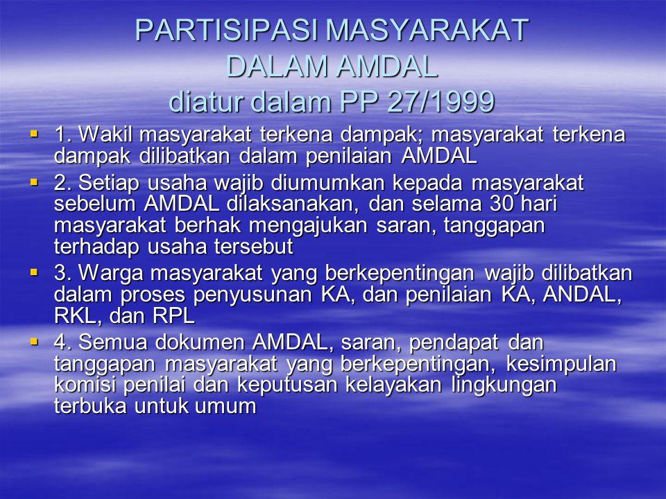 PARTISIPASI MASYARAKAT DALAM AMDAL diatur dalam PP 27/1999  1.