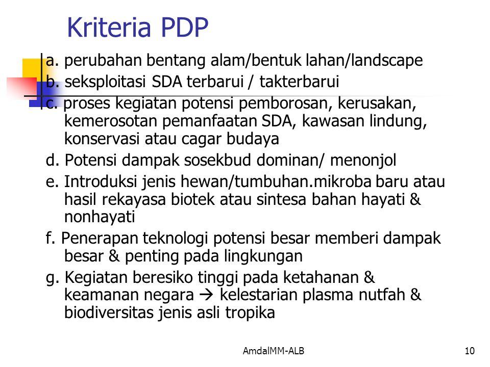 AmdalMM-ALB10 Kriteria PDP a.perubahan bentang alam/bentuk lahan/landscape b.