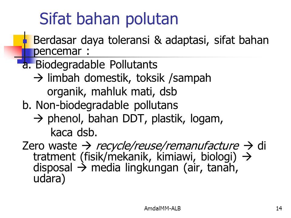 AmdalMM-ALB14 Sifat bahan polutan Berdasar daya toleransi & adaptasi, sifat bahan pencemar : a.