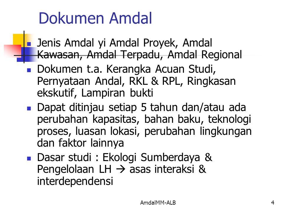 AmdalMM-ALB4 Dokumen Amdal Jenis Amdal yi Amdal Proyek, Amdal Kawasan, Amdal Terpadu, Amdal Regional Dokumen t.a.