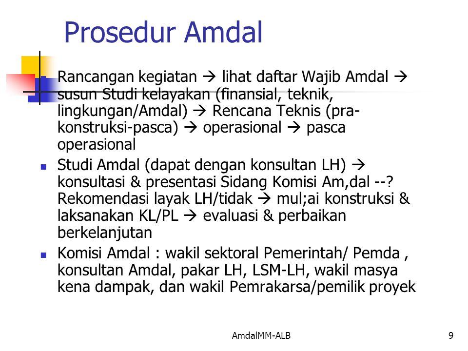 AmdalMM-ALB9 Prosedur Amdal Rancangan kegiatan  lihat daftar Wajib Amdal  susun Studi kelayakan (finansial, teknik, lingkungan/Amdal)  Rencana Teknis (pra- konstruksi-pasca)  operasional  pasca operasional Studi Amdal (dapat dengan konsultan LH)  konsultasi & presentasi Sidang Komisi Am,dal --.