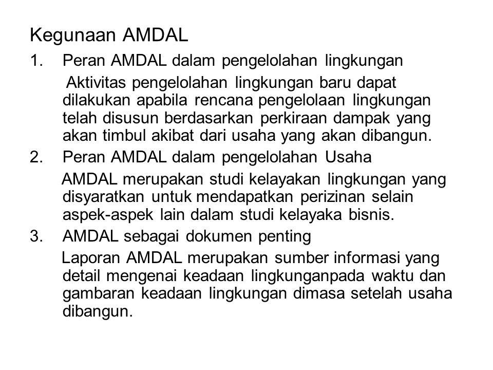 Kegunaan AMDAL 1.Peran AMDAL dalam pengelolahan lingkungan Aktivitas pengelolahan lingkungan baru dapat dilakukan apabila rencana pengelolaan lingkungan telah disusun berdasarkan perkiraan dampak yang akan timbul akibat dari usaha yang akan dibangun.