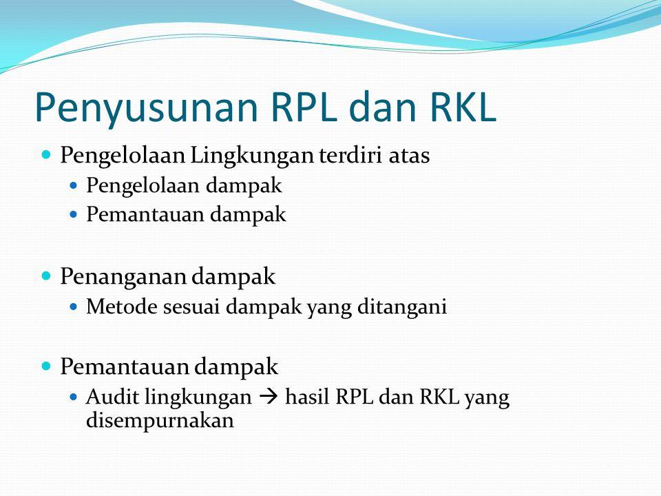 Penyusunan RPL dan RKL Pengelolaan Lingkungan terdiri atas Pengelolaan dampak Pemantauan dampak Penanganan dampak Metode sesuai dampak yang ditangani