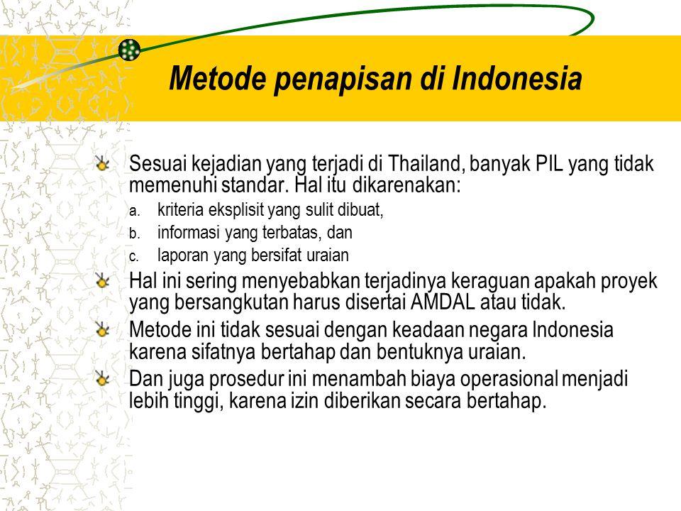 Metode penapisan di Indonesia Sesuai kejadian yang terjadi di Thailand, banyak PIL yang tidak memenuhi standar. Hal itu dikarenakan: a. kriteria ekspl
