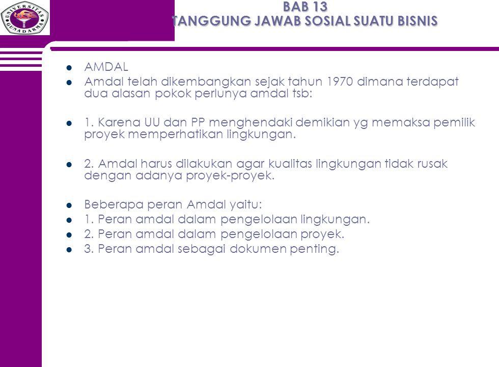 BAB 13 TANGGUNG JAWAB SOSIAL SUATU BISNIS AMDAL Amdal telah dikembangkan sejak tahun 1970 dimana terdapat dua alasan pokok perlunya amdal tsb: 1. Kare