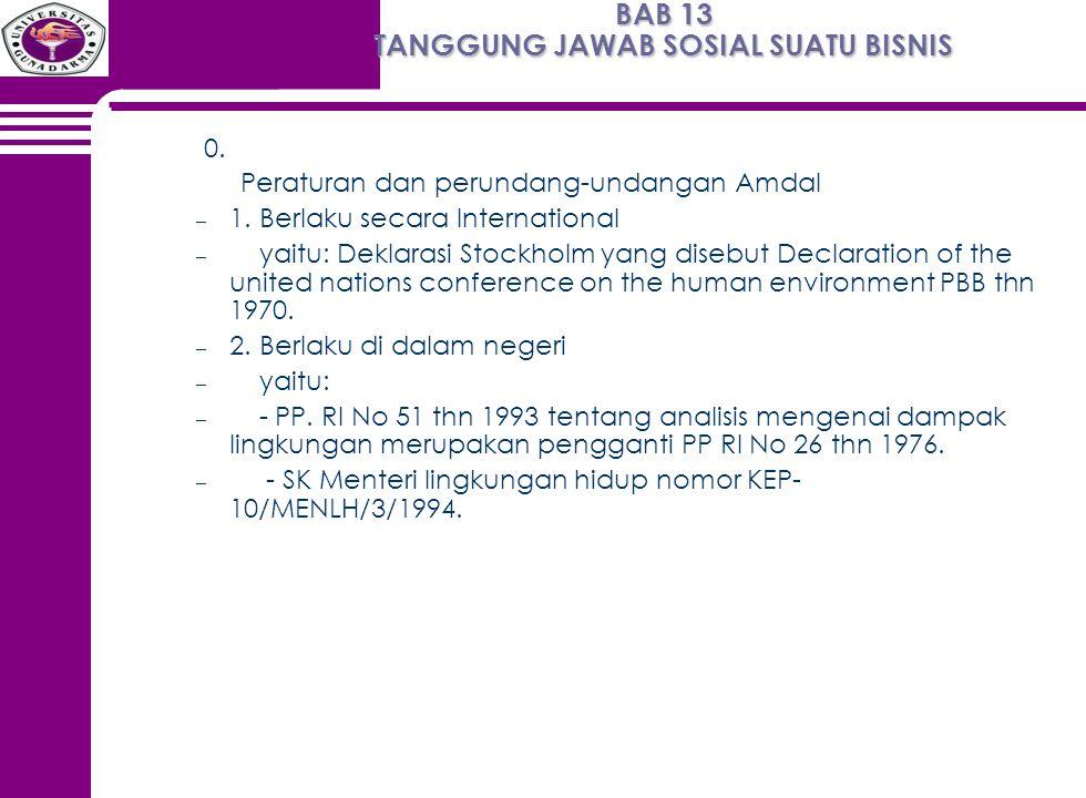 BAB 13 TANGGUNG JAWAB SOSIAL SUATU BISNIS 0. Peraturan dan perundang-undangan Amdal – 1. Berlaku secara International – yaitu: Deklarasi Stockholm yan