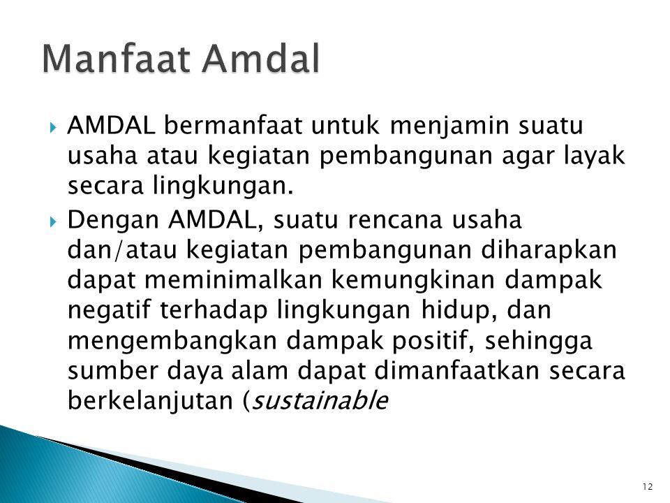  AMDAL bermanfaat untuk menjamin suatu usaha atau kegiatan pembangunan agar layak secara lingkungan.  Dengan AMDAL, suatu rencana usaha dan/atau keg