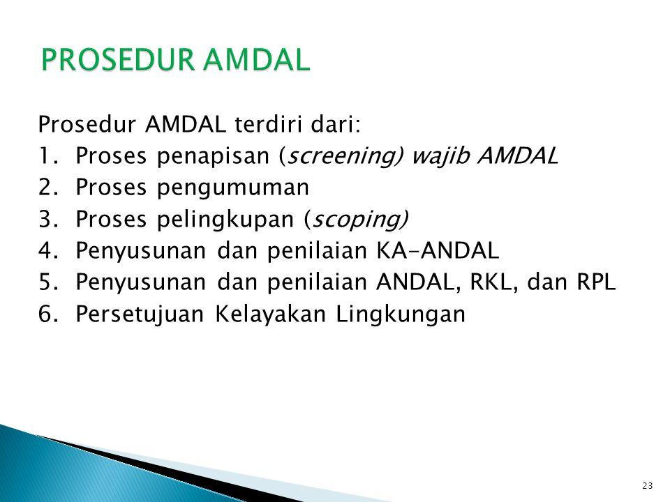 Prosedur AMDAL terdiri dari: 1.Proses penapisan (screening) wajib AMDAL 2.Proses pengumuman 3.Proses pelingkupan (scoping) 4.Penyusunan dan penilaian