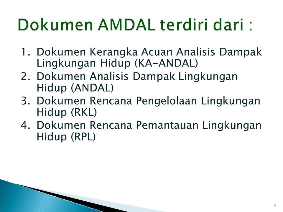 1.Dokumen Kerangka Acuan Analisis Dampak Lingkungan Hidup (KA-ANDAL) 2.Dokumen Analisis Dampak Lingkungan Hidup (ANDAL) 3.Dokumen Rencana Pengelolaan