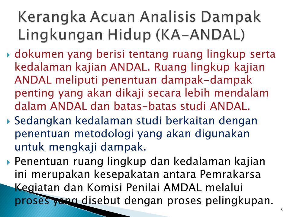  ANDAL adalah dokumen yang berisi telaahan secara cermat terhadap dampak penting dari suatu rencana kegiatan.