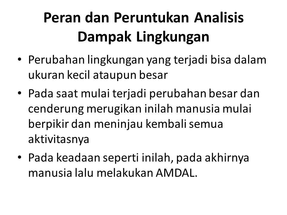 alasan utama mengapa AMDAL perlu dilakukan Amdal perlu dilakukan untuk suatu proyek karena Undang-undang dan peraturan pemerintah menghendaki demikian AMDAL harus dilakukan agar kualitas dari lingkungan bisa terjaga dan tidak mengalami kerusakan yang diakibatkan oleh pembangunan proyek.