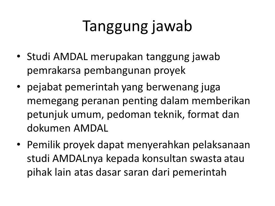 Tanggung jawab Studi AMDAL merupakan tanggung jawab pemrakarsa pembangunan proyek pejabat pemerintah yang berwenang juga memegang peranan penting dala