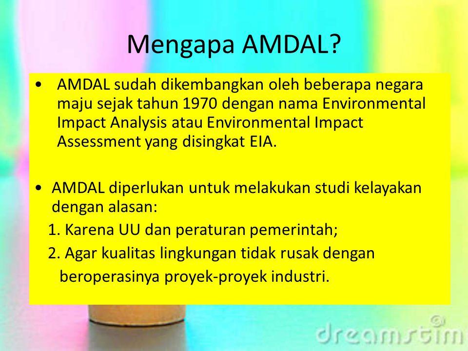 Mengapa AMDAL? AMDAL sudah dikembangkan oleh beberapa negara maju sejak tahun 1970 dengan nama Environmental Impact Analysis atau Environmental Impact