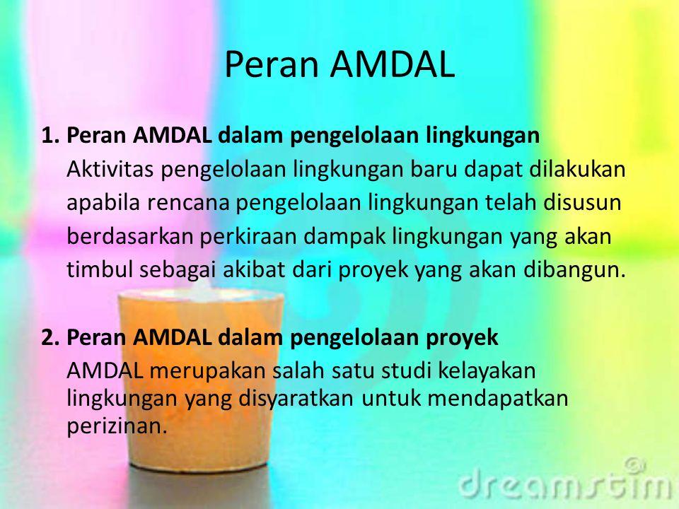 Peran AMDAL 1. Peran AMDAL dalam pengelolaan lingkungan Aktivitas pengelolaan lingkungan baru dapat dilakukan apabila rencana pengelolaan lingkungan t