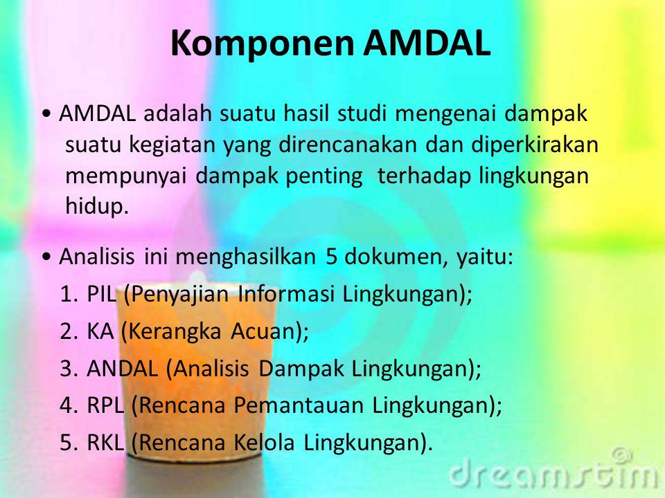 Komponen AMDAL AMDAL adalah suatu hasil studi mengenai dampak suatu kegiatan yang direncanakan dan diperkirakan mempunyai dampak penting terhadap ling