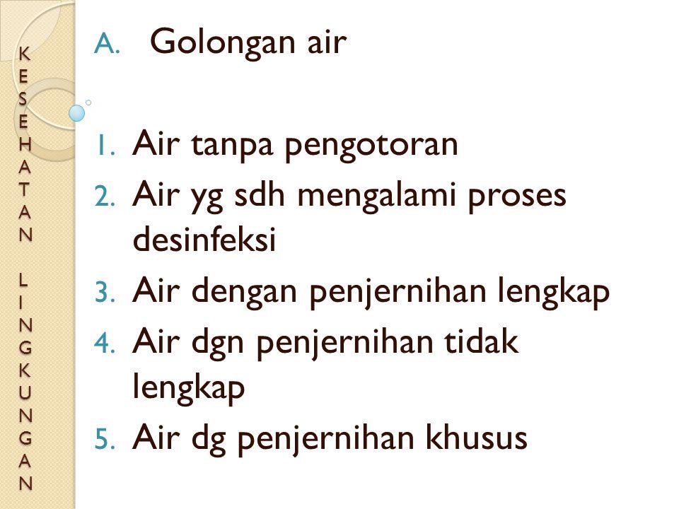 KESEHATAN LINGKUNGANKESEHATAN LINGKUNGANKESEHATAN LINGKUNGANKESEHATAN LINGKUNGAN A. Golongan air 1. Air tanpa pengotoran 2. Air yg sdh mengalami prose