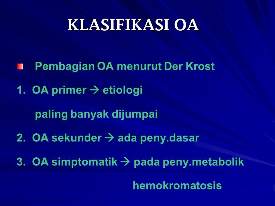 KLASIFIKASI OA Pembagian OA menurut Der Krost 1. OA primer  etiologi paling banyak dijumpai 2. OA sekunder  ada peny.dasar 3. OA simptomatik  pada