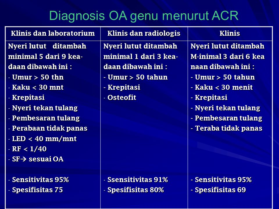 Klinis dan laboratorium Klinis dan radiologis Klinis Nyeri lutut ditambah minimal 5 dari 9 kea- daan dibawah ini : - Umur > 50 thn - Kaku < 30 mnt - K