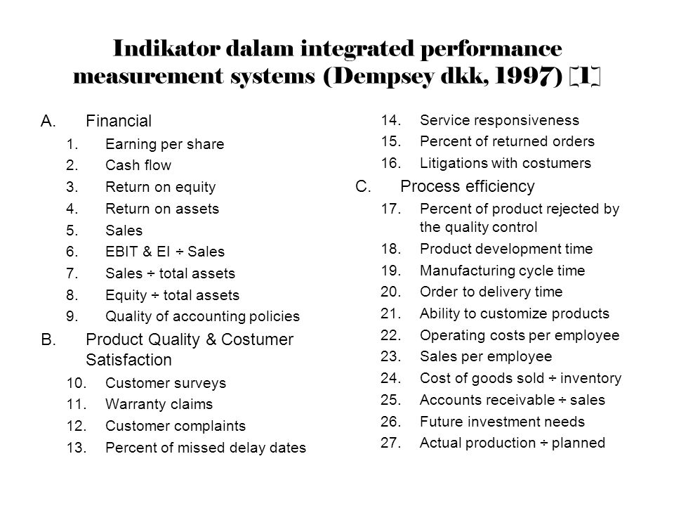 Indikator dalam integrated performance measurement systems (Dempsey dkk, 1997) [1] A.Financial 1.Earning per share 2.Cash flow 3.Return on equity 4.Re