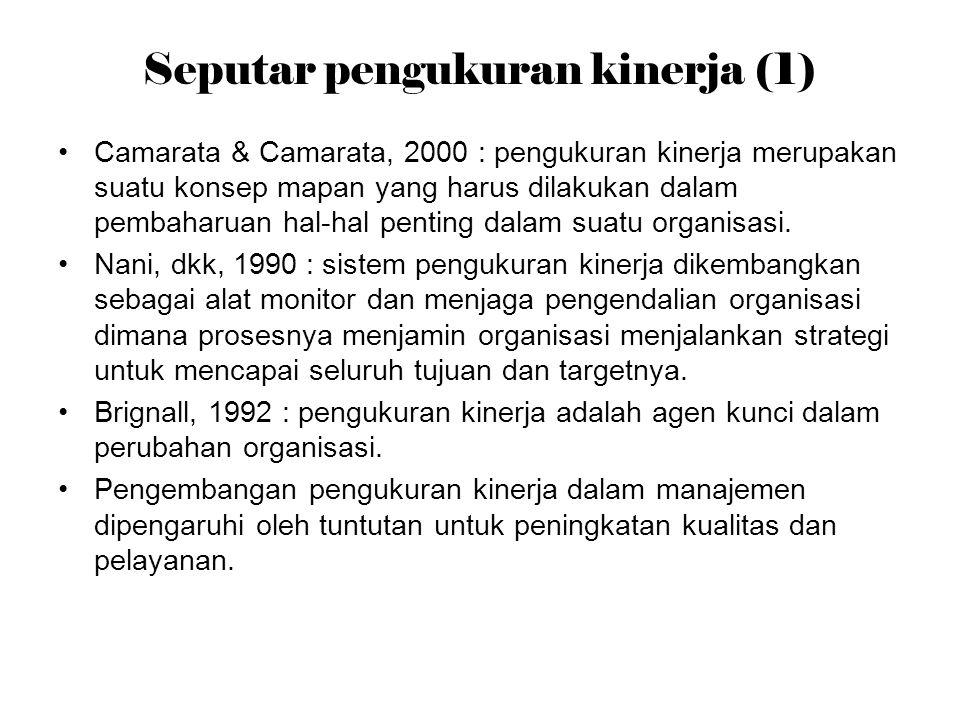 Seputar pengukuran kinerja (1) Camarata & Camarata, 2000 : pengukuran kinerja merupakan suatu konsep mapan yang harus dilakukan dalam pembaharuan hal-hal penting dalam suatu organisasi.
