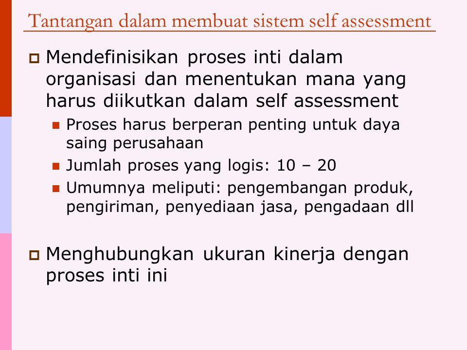 Ukuran kinerja dalam self assessment  Tujuan self assessment adalah memberikan gambaran kasar tentang Proses-proses yang berjalan dengan baik Proses apa yang harus ditingkatkan  Ukuran kinerja yang digunakan dalam self assessment harus pada tingkat yang lebih tinggi dan mencakup keseluruhan proses bisnis