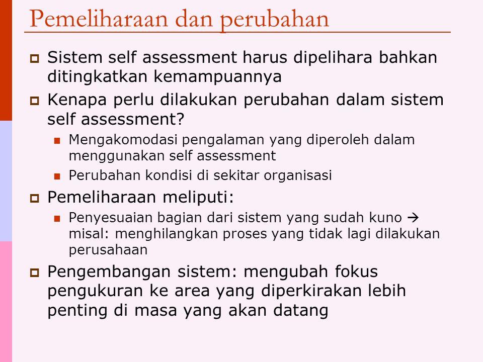 Pelaksanaannya  Self assessment harus dilaksanakan sesuai dengan rencana  Informasi yang terkumpul (hasil pengukuran) harus disimpan untuk memungkin