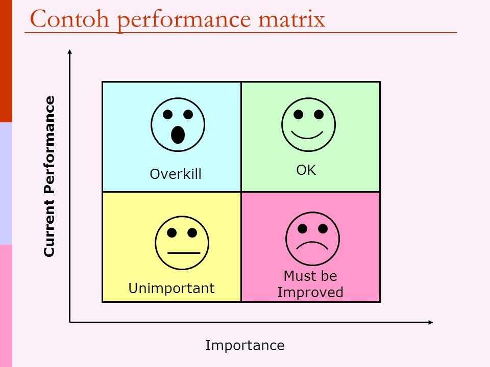 Performance Matrix  Digunakan untuk menganalisis tidak hanya sebaik apa proses bisnis dilakukan tetapi seberapa penting proses tersebut  Kenapa?? 