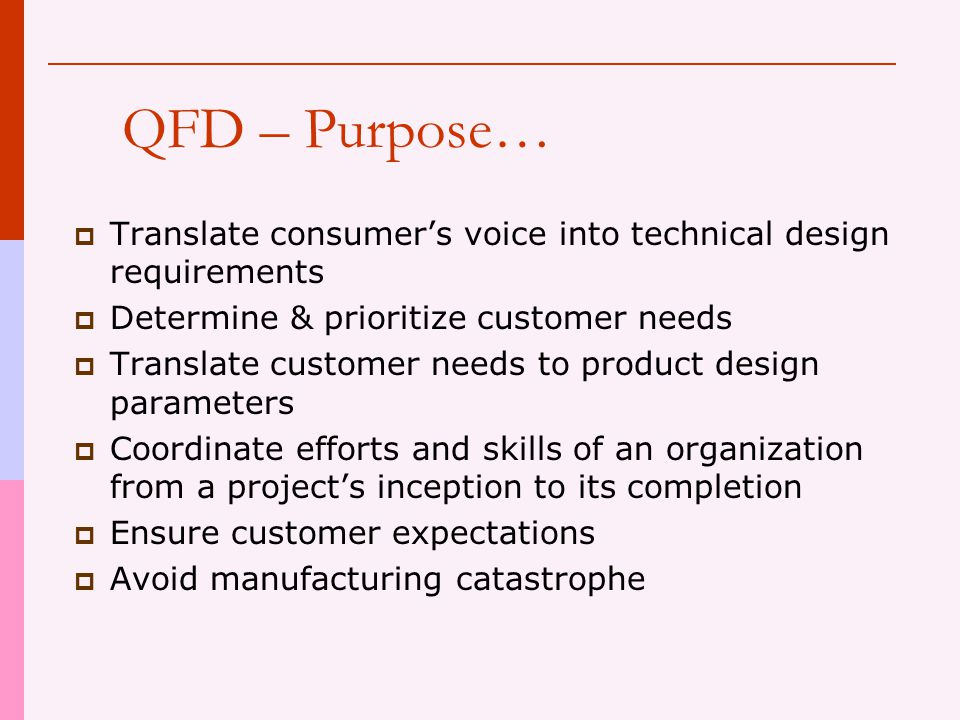 QFD - Defined  A quality assurance tool for profit and non-profit organizations aimed at locating customer needs and transcending those needs into product/service production stages, ensuring that customer needs are delivered in the end.