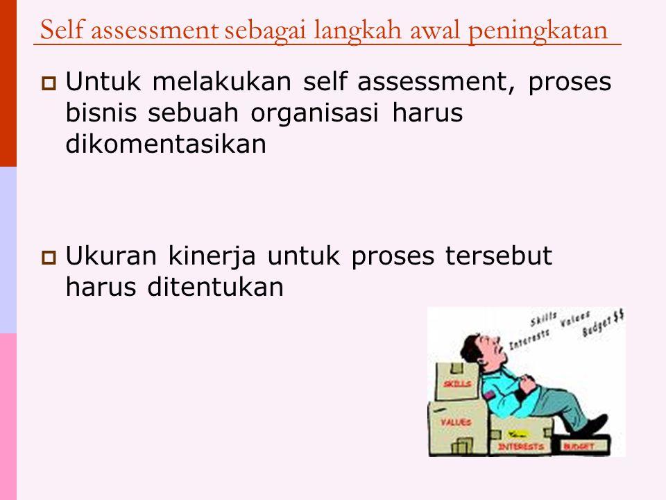 Self Assessment vs. Performance measurement  Manfaat: Data dari sistem pengukuran biasa lebih banyak digunakan untuk jalannya proses sehari-hari dan
