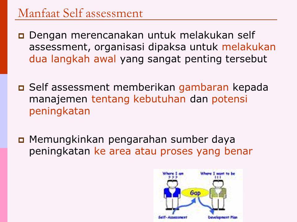 Self assessment sebagai langkah awal peningkatan  Untuk melakukan self assessment, proses bisnis sebuah organisasi harus dikomentasikan  Ukuran kinerja untuk proses tersebut harus ditentukan