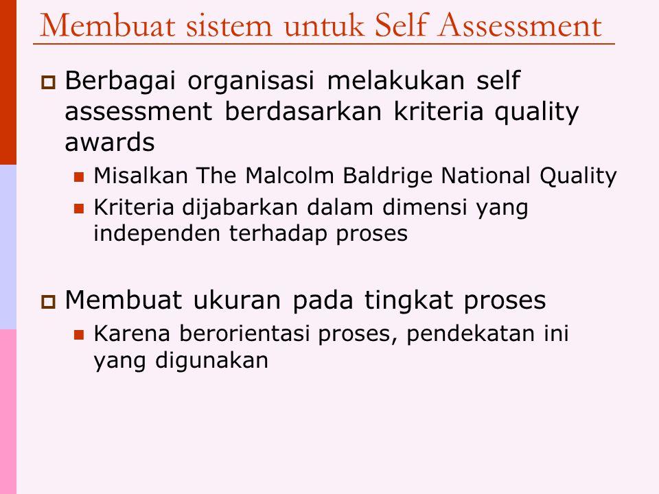 Manfaat Self assessment  Dengan merencanakan untuk melakukan self assessment, organisasi dipaksa untuk melakukan dua langkah awal yang sangat penting tersebut  Self assessment memberikan gambaran kepada manajemen tentang kebutuhan dan potensi peningkatan  Memungkinkan pengarahan sumber daya peningkatan ke area atau proses yang benar