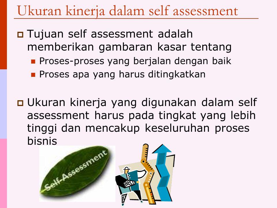 Membuat sistem untuk Self Assessment  Berbagai organisasi melakukan self assessment berdasarkan kriteria quality awards Misalkan The Malcolm Baldrige