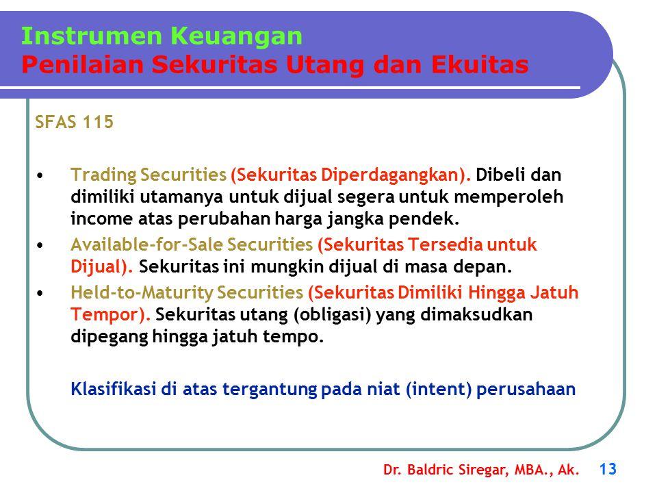 Dr. Baldric Siregar, MBA., Ak. 13 SFAS 115 Trading Securities (Sekuritas Diperdagangkan). Dibeli dan dimiliki utamanya untuk dijual segera untuk mempe