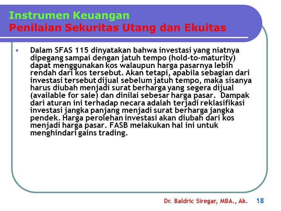 Dr. Baldric Siregar, MBA., Ak. 18 Dalam SFAS 115 dinyatakan bahwa investasi yang niatnya dipegang sampai dengan jatuh tempo (hold-to-maturity) dapat m