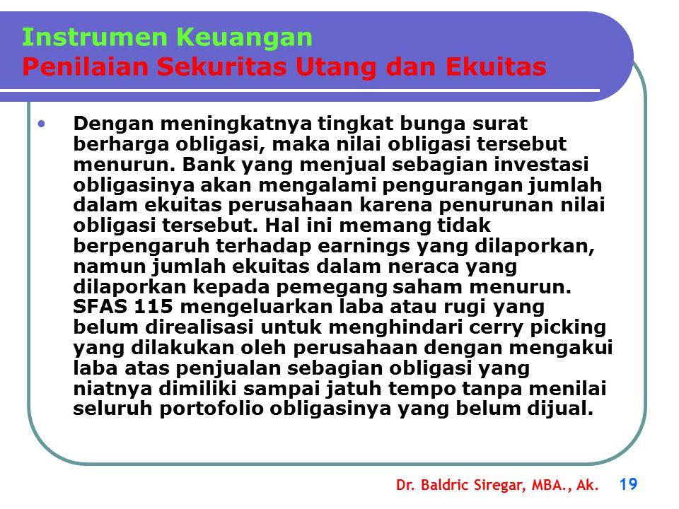 Dr. Baldric Siregar, MBA., Ak. 19 Dengan meningkatnya tingkat bunga surat berharga obligasi, maka nilai obligasi tersebut menurun. Bank yang menjual s