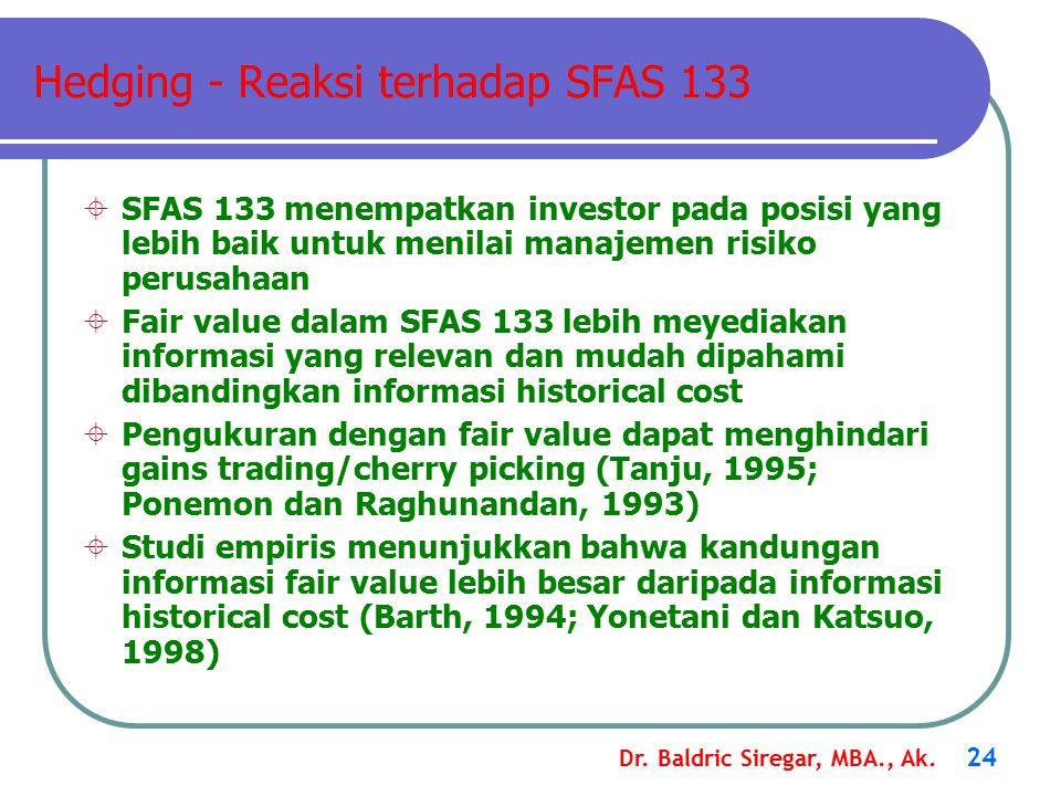 Dr. Baldric Siregar, MBA., Ak. 24 Hedging - Reaksi terhadap SFAS 133  SFAS 133 menempatkan investor pada posisi yang lebih baik untuk menilai manajem