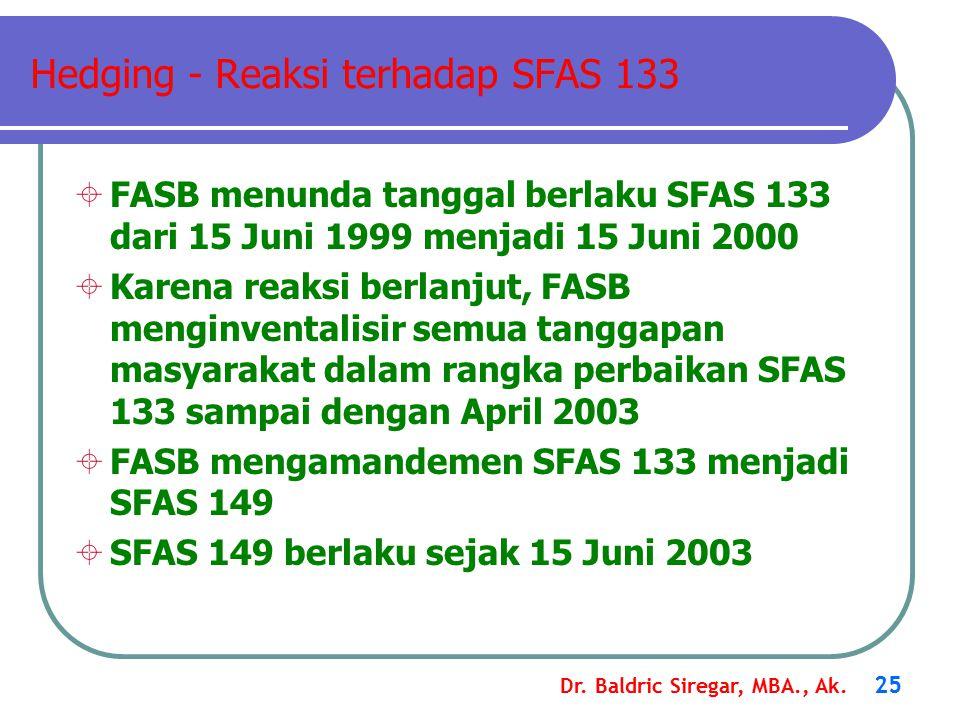 Dr. Baldric Siregar, MBA., Ak. 25 Hedging - Reaksi terhadap SFAS 133  FASB menunda tanggal berlaku SFAS 133 dari 15 Juni 1999 menjadi 15 Juni 2000 