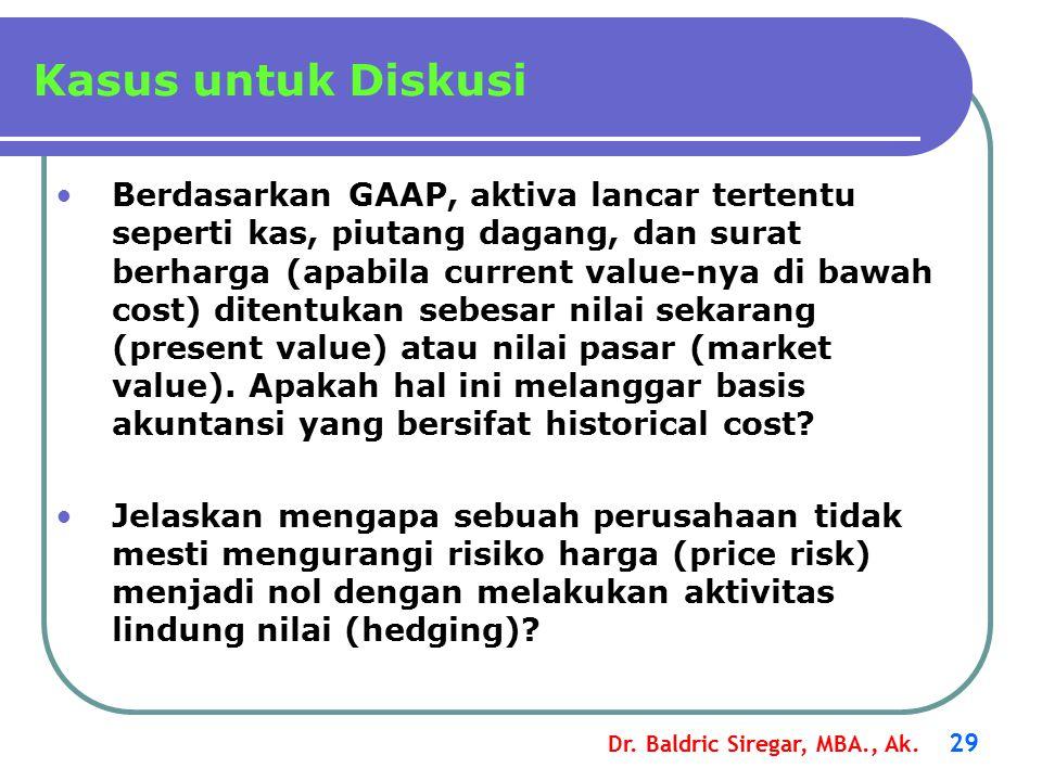 Dr. Baldric Siregar, MBA., Ak. 29 Berdasarkan GAAP, aktiva lancar tertentu seperti kas, piutang dagang, dan surat berharga (apabila current value-nya