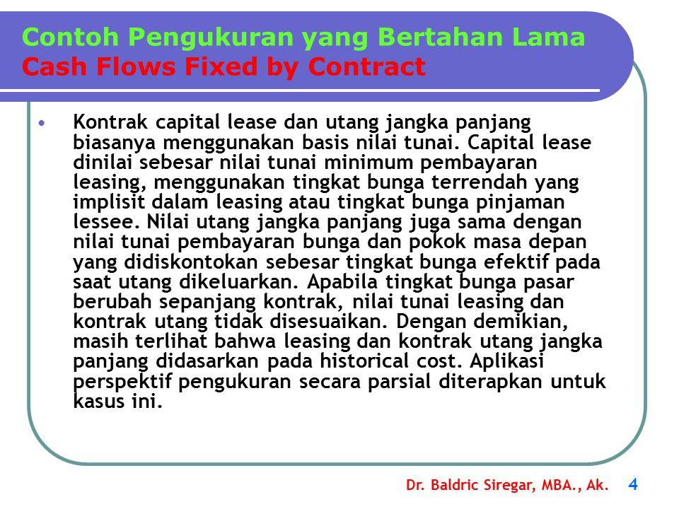 Dr. Baldric Siregar, MBA., Ak. 4 Kontrak capital lease dan utang jangka panjang biasanya menggunakan basis nilai tunai. Capital lease dinilai sebesar
