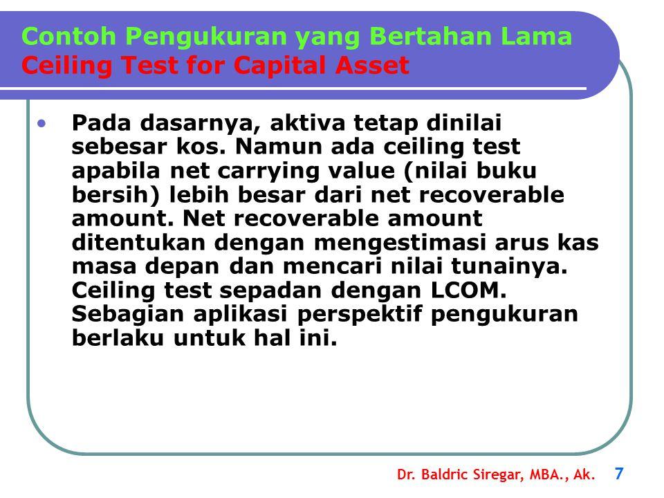 Dr. Baldric Siregar, MBA., Ak. 7 Pada dasarnya, aktiva tetap dinilai sebesar kos. Namun ada ceiling test apabila net carrying value (nilai buku bersih