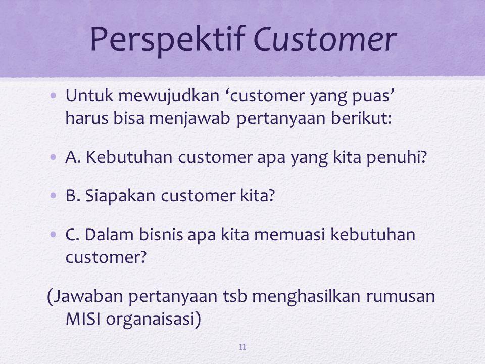 Perspektif Customer Untuk mewujudkan 'customer yang puas' harus bisa menjawab pertanyaan berikut: A.
