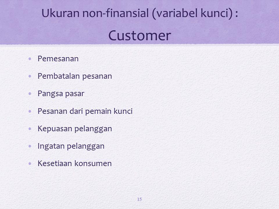 Ukuran non-finansial (variabel kunci) : Customer Pemesanan Pembatalan pesanan Pangsa pasar Pesanan dari pemain kunci Kepuasan pelanggan Ingatan pelanggan Kesetiaan konsumen 15