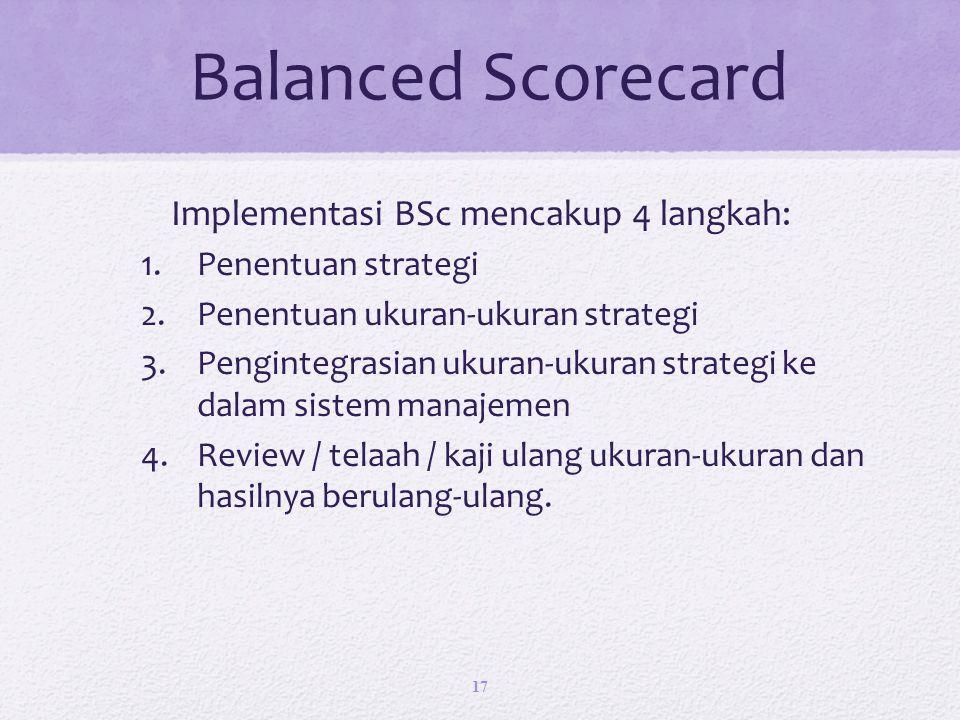 Balanced Scorecard Implementasi BSc mencakup 4 langkah: 1.Penentuan strategi 2.Penentuan ukuran-ukuran strategi 3.Pengintegrasian ukuran-ukuran strategi ke dalam sistem manajemen 4.Review / telaah / kaji ulang ukuran-ukuran dan hasilnya berulang-ulang.
