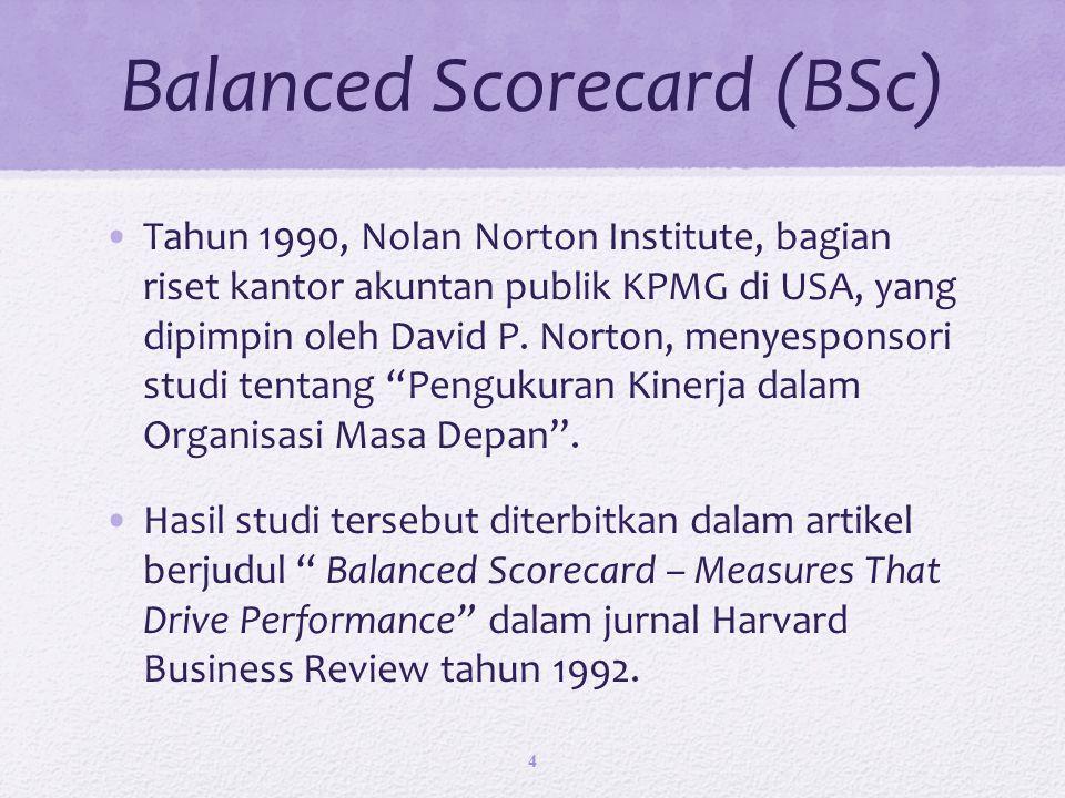 Balanced Scorecard (BSc) Tahun 1990, Nolan Norton Institute, bagian riset kantor akuntan publik KPMG di USA, yang dipimpin oleh David P.