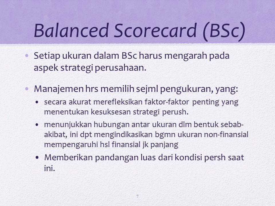 Balanced Scorecard (BSc) Setiap ukuran dalam BSc harus mengarah pada aspek strategi perusahaan.