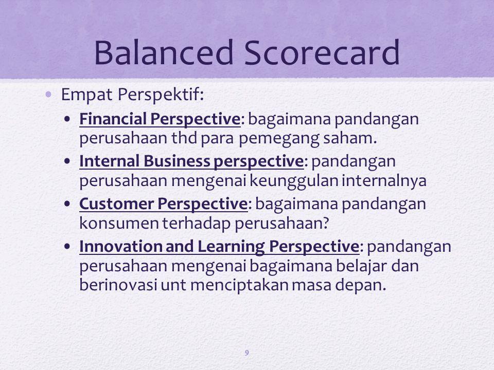 Balanced Scorecard Empat Perspektif: Financial Perspective: bagaimana pandangan perusahaan thd para pemegang saham.