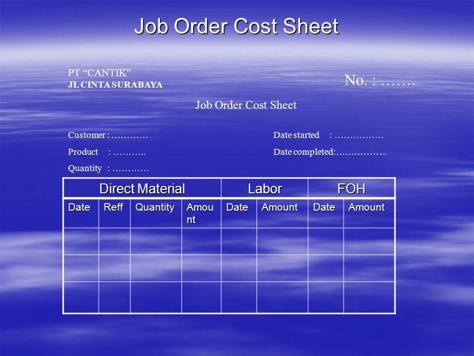 KARTU BIAYA PESANAN  Berisi rincian biaya suatu pesanan yg terdiri dari biaya bahan langsung, biaya tenaga kerja langsung & BOP yg dibebankan.