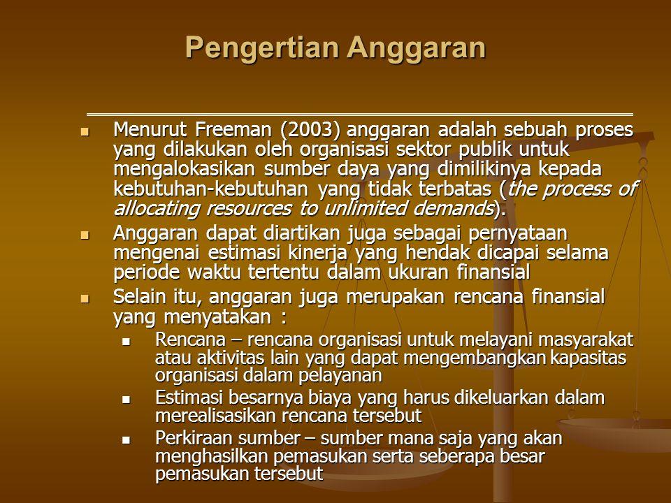 Pengertian Anggaran Menurut Freeman (2003) anggaran adalah sebuah proses yang dilakukan oleh organisasi sektor publik untuk mengalokasikan sumber daya