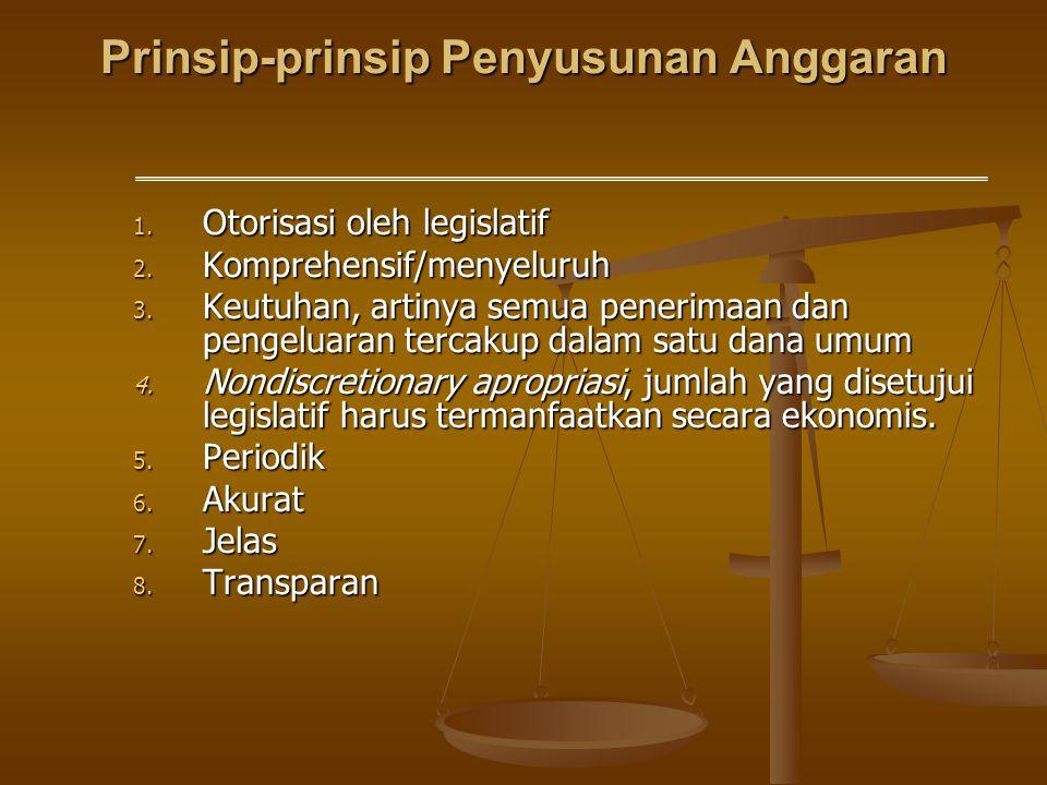 Prinsip-prinsip Penyusunan Anggaran 1. Otorisasi oleh legislatif 2. Komprehensif/menyeluruh 3. Keutuhan, artinya semua penerimaan dan pengeluaran terc
