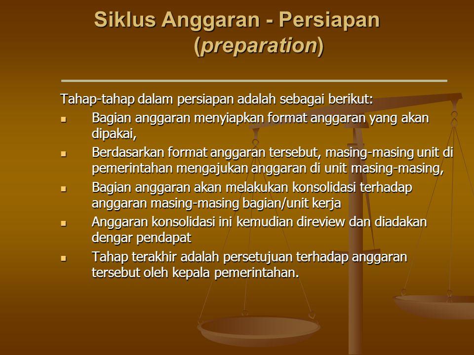 Siklus Anggaran - Persiapan (preparation) Tahap-tahap dalam persiapan adalah sebagai berikut: Bagian anggaran menyiapkan format anggaran yang akan dip